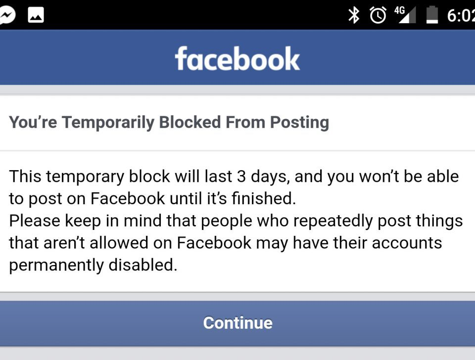 Blocked on Facebook